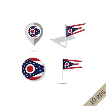 Map pins with flag of Ohio . Navigation icons.