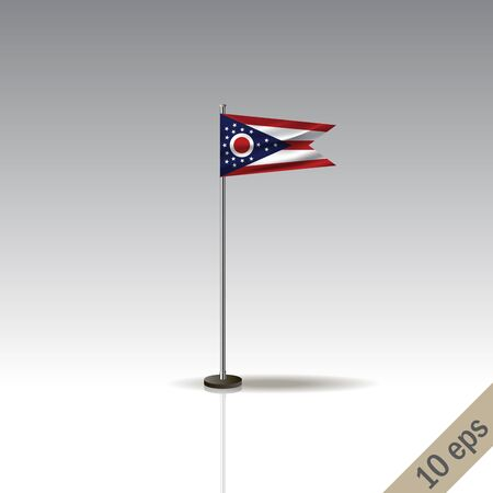 Ohio flag template. Waving Ohio flag on a metallic pole, isolated on a gray background.