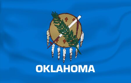 Waving Flag of Oklahoma is a state of USA. illustration. Waving Flag of Oklahoma is a state of USA. illustration