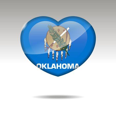 Love Oklahoma state symbol. Heart flag icon. illustration. Standard-Bild