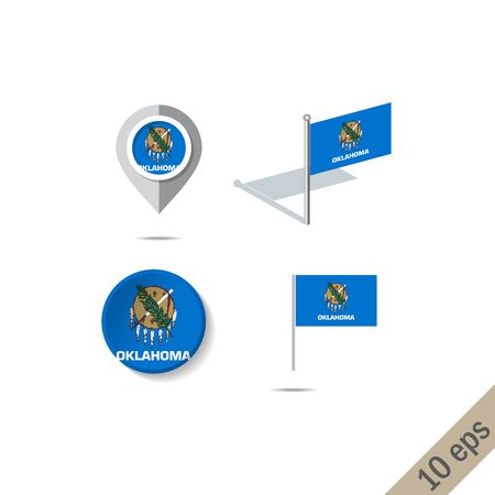 Map pins with flag of Oklahoma . Navigation icons.