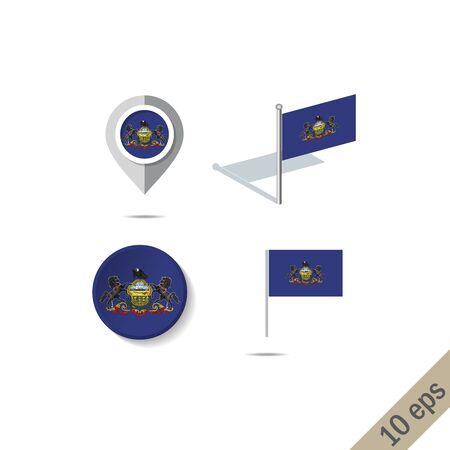 Map pins with flag of Pensilvania . Navigation icons.