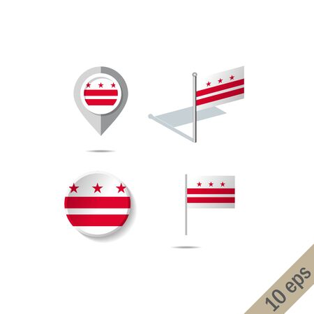 Map pins with flag of District of Columbia . Navigation icons.