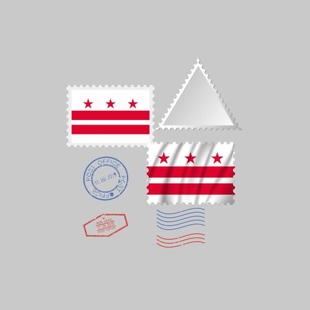 Postage stamp with the image of District of Columbia state flag. District of Columbia Flag Postage on gray background with shadow. Illustration.