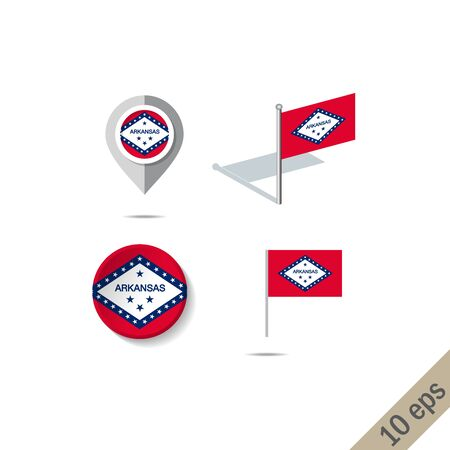 Map pins with flag of Arkansas . Navigation icons. illustration