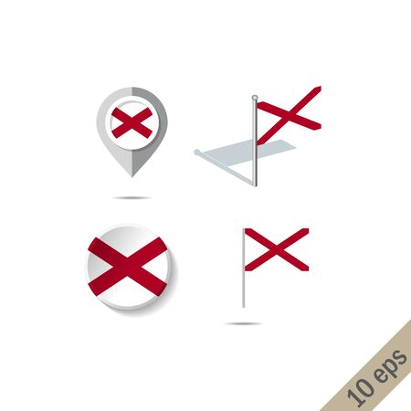 Map pins with flag of ALABAMA . Navigation icons. illustration
