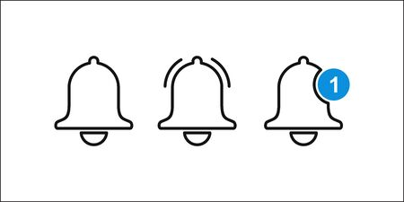Notification message bell vecor line icon. 10 eps