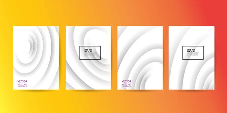 Set of minimal abstract circle wave on white background for Brochure, Flyer, Poster, leaflet, Annual report, Book cover, Graphic Design Layout template, A4 size. 10 eps