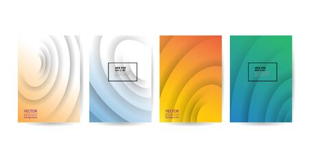 Set of minimal abstract curved wave shape on vivid gradient colors background for Brochure, Flyer, Poster, leaflet, Annual report, Book cover, Graphic Design Layout template, A4 size. 10 eps Illustration