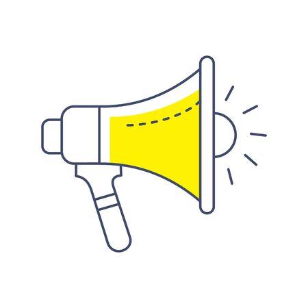 Seo Business Web Outlined Line Icon Vector Megaphone Illusztráció