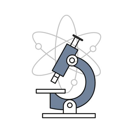 The icon of a microscope and a model of the atomic structure on white background - vector illustration