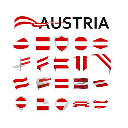 Austria flag vector icons and logo design elements with the Austrian flag