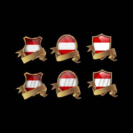 Austria set shiny buttons and shields of flag with metal frame - vector illustration. Illusztráció