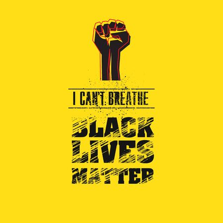 I can t breathe anymore. Black lives matter. Black clenched his fist in protest . Illustration, vector graphics Illusztráció