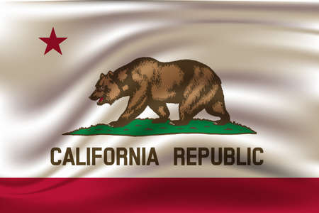 Waving Flag of California is a state of USA. illustration