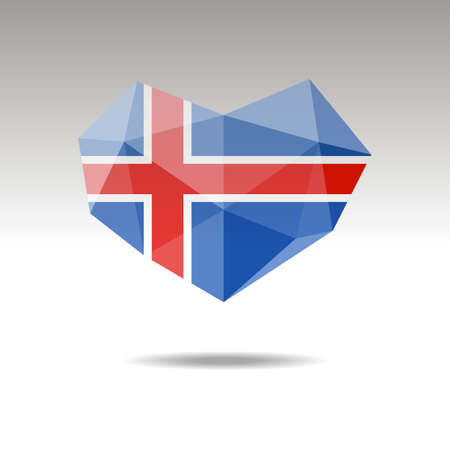 Vector Crystal gemstone jewelry heart with the flag of Iceland. Flat style is a symbol of Iceland s love. Constitution day. 10 eps Illusztráció
