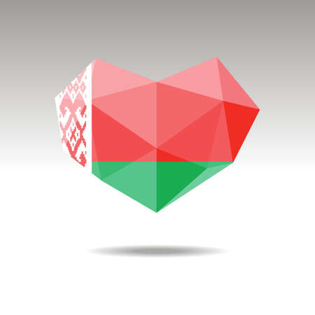 Vector Crystal gemstone jewelry heart with the flag of BELARUS. Flat style is a symbol of BELARUS love. Constitution day 10 eps
