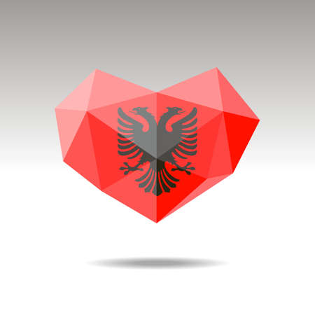 Vector Crystal gemstone jewelry heart with the flag of Albania. Flat  style is a symbol of Albania love. Constitution day. 10 eps