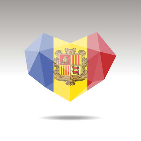 Vector Crystal gemstone jewelry heart with the flag of Andorra. Flat style is a symbol of Andorra  love. Constitution day. 10 eps
