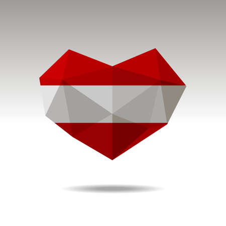 Vector Crystal gemstone jewelry heart with the flag of Austria. Flat style is a symbol of Austria love. Constitution day. 10 eps Ilustração
