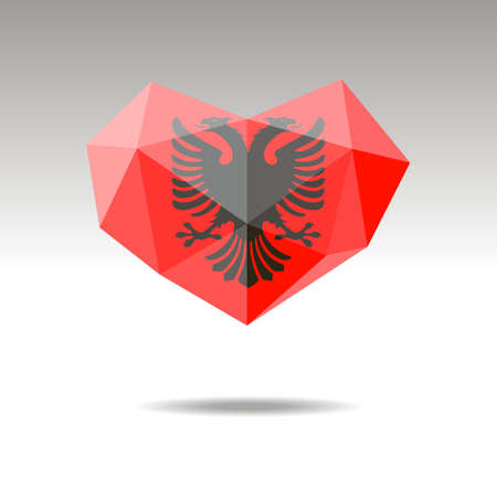 Vector Crystal gemstone jewelry heart with the flag of Albania. Flat logo style is a symbol of Albania love. Constitution day. 10 eps