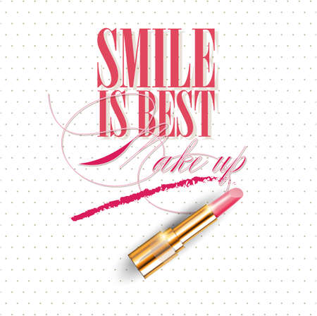 Smile is the best make up. Inspirational quote handwritten with Smears lipstick, custom lettering for posters, t-shirts and cards, fashion design. Vector calligraphy isolated on white background.