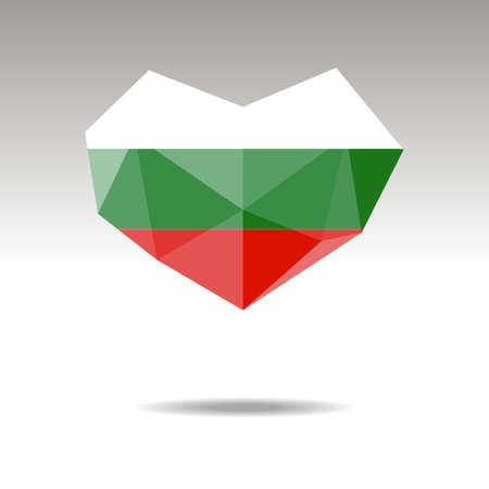 Vector Crystal gemstone jewelry heart with the flag of Bulgaria. Flat logo style is a symbol of Bulgaria  love. Constitution day. Ilustração