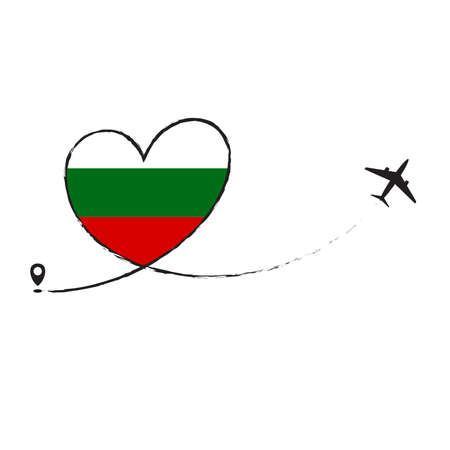 Flag of BULGARIA love romantic travel plane airplane Airplane airplane flight fly jet airline line vector path fun funny pin location pointer route trail sign track vacation.