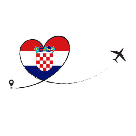 Flag of CROATIA love romantic travel plane airplane Airplane airplane flight fly jet airline line vector path fun funny pin location pointer route trail sign track vacation.