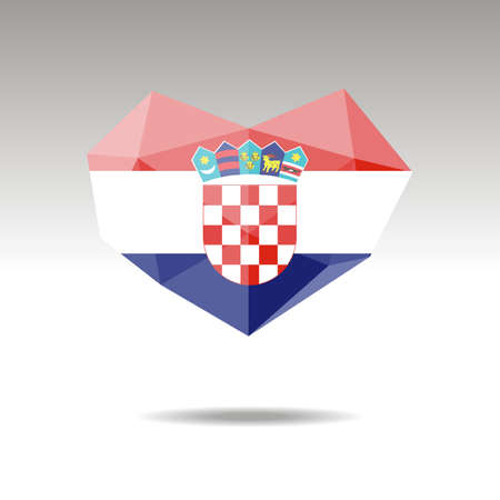 Vector Crystal gemstone jewelry heart with the flag of Bosnia. Flat logo style is a symbol of Bosnia  love. Constitution day.