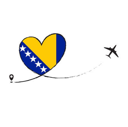 Flag of BOSNIA love romantic travel plane airplane Airplane airplane flight fly jet airline line vector path fun funny pin location pointer route trail sign track vacation.