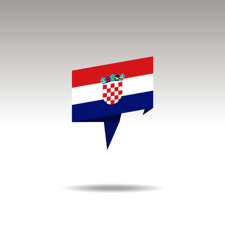 CROATIA paper flag 3d realistic speech bubble on white background