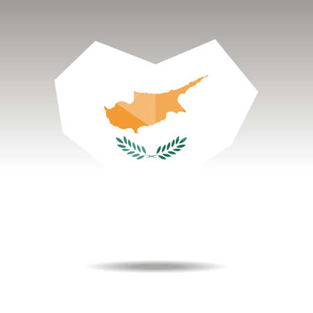 Vector Crystal gemstone jewelry heart with the flag of Cyprus. Flat logo style is a symbol of Cyprus  love. Constitution day. Ilustração