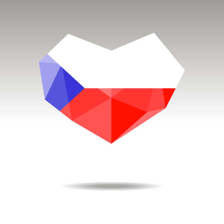 Vector Crystal gemstone jewelry heart with the flag of CZECH REPUBLIC. Flat logo style is a symbol of CZECH REPUBLIC  love. Constitution day. Ilustração