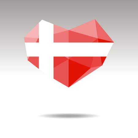 Vector Crystal gemstone jewelry heart with the flag of DENMARK. Flat logo style is a symbol of DENMARK  love. Constitution day.10 eps