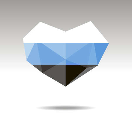 Vector Crystal gemstone jewelry heart with the flag of ESTONIA. Flat logo style is a symbol of ESTONIA  love. Constitution day.10 eps Ilustração