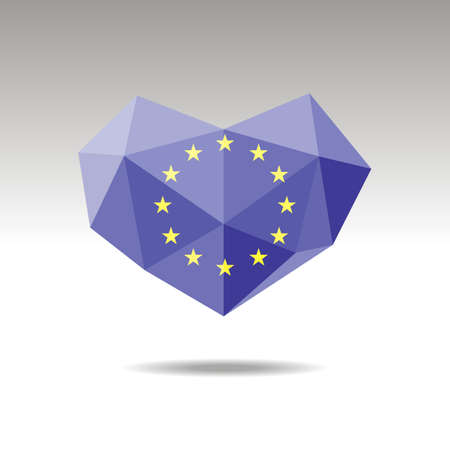 Vector Crystal gemstone jewelry heart with the flag of European union . Flat logo style is a symbol of European union   love. Constitution day.