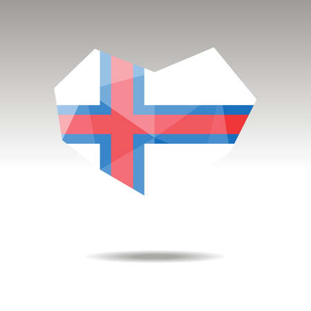 Vector Crystal gemstone jewelry heart with the flag of Faroe Islands . Flat logo style is a symbol of Faroe Islands   love. Constitution day.