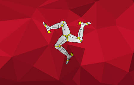 Isle of Man flag map in geometric,mosaic polygonal style. Abstract tessellation,background. Low poly vector illustration EPS10