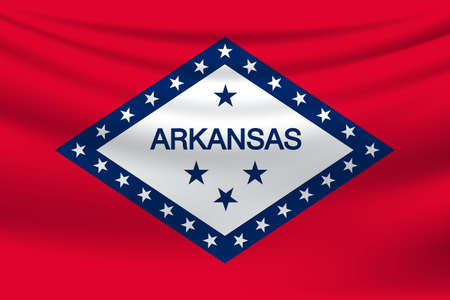 Waving Flag of Arcansas is a state of USA. illustration Waving Flag of Arcansas is a state of USA. illustration