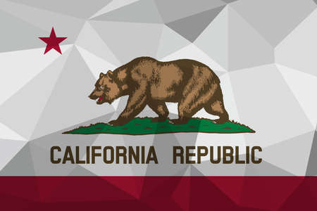 California flag map in geometric,mosaic polygonal style. Abstract tessellation,background. Low poly vector illustration EPS10
