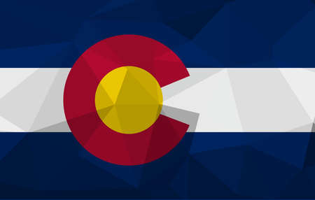 COLORADO flag map in geometric,mosaic polygonal style. Abstract tessellation,background. Low poly vector illustration EPS10