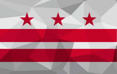 District of Columbia flag map in geometric,mosaic polygonal style. Abstract tessellation,background. Low poly vector illustration EPS10 Ilustração