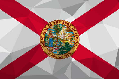 Florida flag map in geometric,mosaic polygonal style. Abstract tessellation,background. Low poly vector illustration Illusztráció