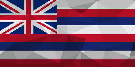Hawaii flag map in geometric,mosaic polygonal style. Abstract tessellation,background. Low poly vector illustration EPS10