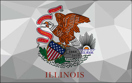 Illinois flag map in geometric,mosaic polygonal style. Abstract tessellation,background. Low poly vector illustration