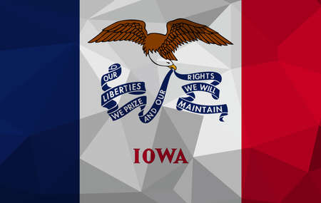 Iowa flag map in geometric,mosaic polygonal style. Abstract tessellation,background. Low poly vector illustration EPS10
