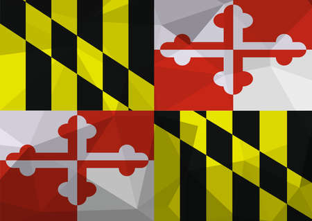 Maryland flag map in geometric,mosaic polygonal style. Abstract tessellation,background. Low poly vector illustration
