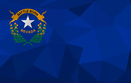 NEVADA flag map in geometric,mosaic polygonal style. Abstract tessellation,background. Low poly vector illustration EPS10