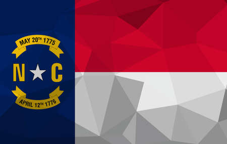 North Carolina flag map in geometric,mosaic polygonal style. Abstract tessellation,background. Low poly vector illustration Ilustração